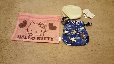 Hello Kitty Pouch, Coin Purse and Blue Drawstring Bag (3 Items In Set)