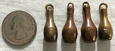 Lot of 4 Vintage Bowling Ball Pins Cracker Jack Gumball Machine Charm Prize