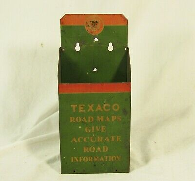 Vintage Texaco Road Map Holder Display Advertising Gas Station Sign