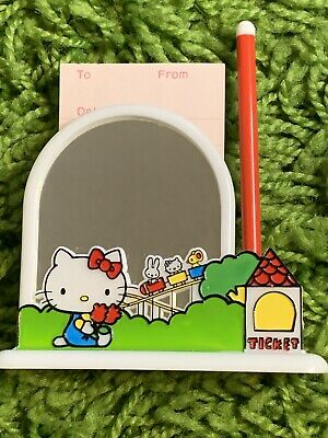 VINTAGE 1976 Rare Sanrio HELLO KITTY Mirror Memo Stand JAPAN Paper Pen NIB
