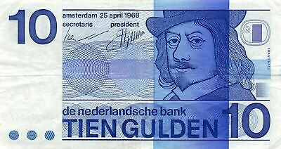 Netherlands  10  Gulden  25.4.1968  Circulated Banknote MeE1