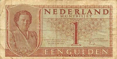 Netherlands  1  Gulden   8.8.1949   P 72  Series  2HU  Circulated Banknote ME3