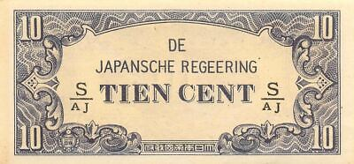 Netherlands Indies 10 Cent  ND. 1942  Block S/AJ  WWII Uncirculated Banknote J3