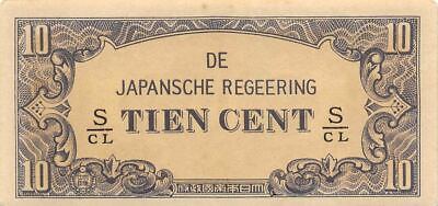 Netherlands Indies 10 Cent  ND. 1942  Block S/CL  WWII Uncirculated Banknote J3
