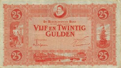 Netherlands  25  Gulden  1.2.1930  P 46  Series  JA  Circulated Banknote FB