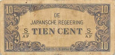 Netherlands Indies 10 Cent  ND. 1942  Block S/AF  WWII Circulated Banknote J3