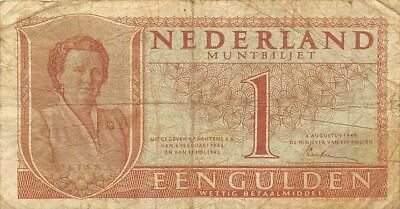 Netherlands  1  Gulden  8.8.1949  P 72  Series  3 NZ  Circulated Banknote Me22