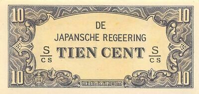 Netherlands Indies 10 Cent  ND. 1942  Block S/CS  WWII Uncirculated Banknote J3