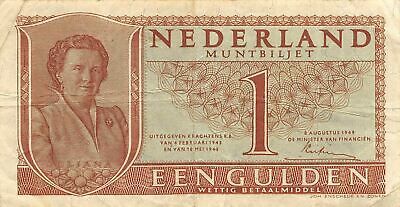 Netherlands  1  Gulden   8.8.1949   P 72  Series  4CP  Circulated Banknote ME3