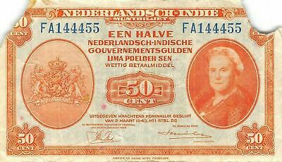 Netherlands Indies  50  Cent  2.3.1943  Series  AF  Circulated Banknote Jjw2