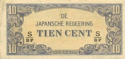 Netherlands Indies 10 Cent  ND. 1942  Block S/BF  WWII Circulated Banknote J3