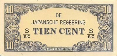 Netherlands Indies 10 Cent  ND. 1942  Block S/BC  WWII Circulated Banknote J3