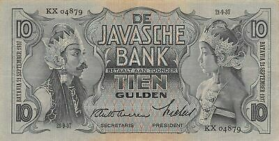 Netherlands Ind. 10  Gulden 21.9.1937  P 79b  Series KX  Circulated Banknote FB