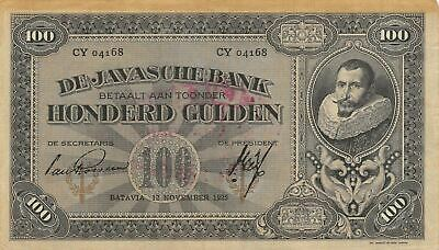 Netherlands Ind. 100  Gulden 12.11.1925  P 73b Series YC  Circulated Banknote FB