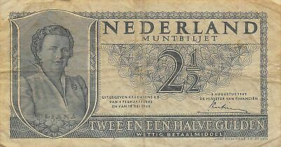 Netherlands  2 1/2  Gulden  8.8.1949  Series 2DG  Circulated Banknote JK