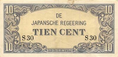 Netherlands Indies 10 Cent  ND. 1942  Block S30  WWII Circulated Banknote J4
