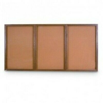 UNITED VISUAL PRODUCTS UV105W Triple Door Wood Enclosed Corkboard,72
