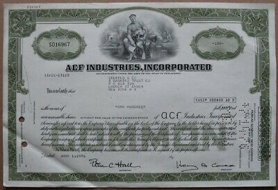 ACF INDUSTRIES INCORPORATED Stock certificate 1976 - Series: SD16967