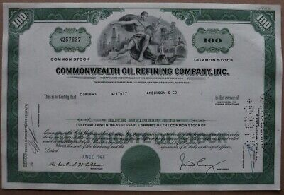 Commonwealth Oil Refining Company, Inc. Stock certificate 1968 - Series: N257637