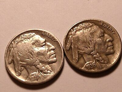 Two Indian Head Nickels, 1928 & 1936-D, Very Nice Condition