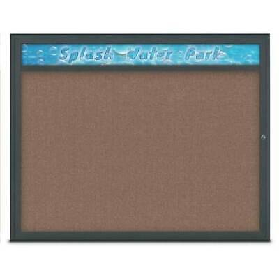 UNITED VISUAL PRODUCTS UV801448-BLACK-PUMICE Single Door Radius Corkboard With