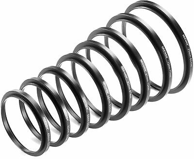 Neewer 8 Pieces Step-up Adapter Ring Set 49-52mm 58-62mm 72-77mm 77-82mm Black