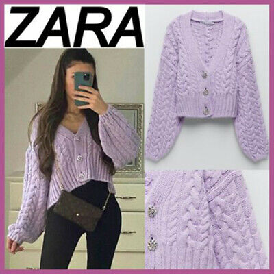 Details about  /ZARA NEW WOMAN CROPPED KNIT CARDIGAN WITH POMPOMS ECRU S,M,L 5802//103