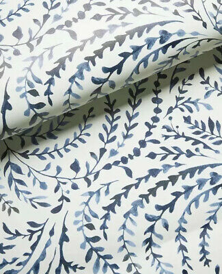 Wallpaper Roll Jill Byers Navy Navy And White Vine Cerulean Blues 24in x 27ft