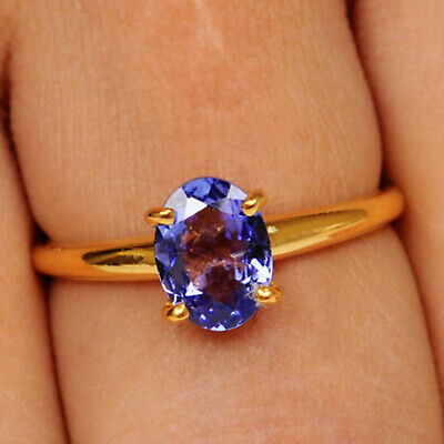 1.40Ct Natural Blue Tanzanite Oval Shape Anniversary Ring In 14KT White Gold