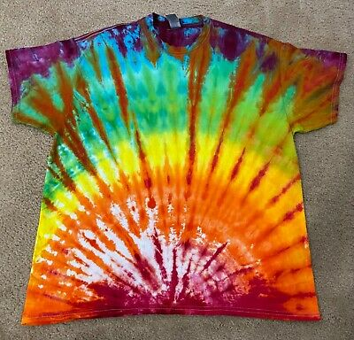 Tie Dye Striped Rainbow Long Sleeve Turtleneck Shirt XL Mens Psychedelic Hand Made