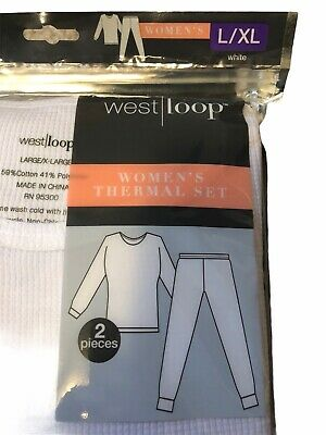 Details about  /West Loop Women/'s 2 Piece Thermal Set Long Sleeve Black and White Colors