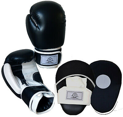 2pc Boxing Gloves and Focus Pads Set Hook Jabs Mitts Punch Bag Gym Training