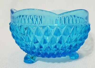 Vintage Amber Indiana Glass Diamond 3 Footed Bonbon Candy Dish Bowl Scalloped Easter