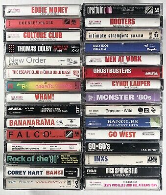 30x 80's NEW WAVE Cassette Tape Lot: New Order Culture Club Police Ghostbusters