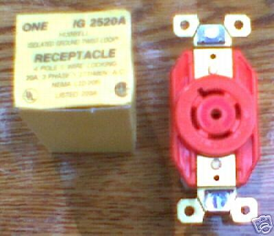 Hubbell Ig2520A 20 A 277/480 V 3 Y L22-20R Receptacle