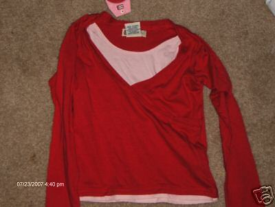 NWT- Faded Glory pink & red long sleeved top - 4/5