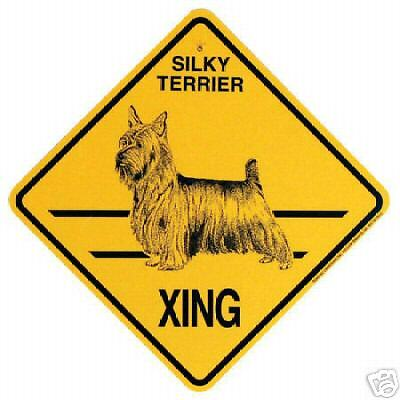 SILKY TERRIER  X-ING  Sign,  PLASTIC-IN/OUT