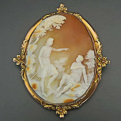 Huge Antique Solid Rose, Yellow Gold Carved Shell Cameo