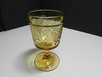 "Water Goblet Grapes w Leaves Amber EAPG Repro  6"" T"