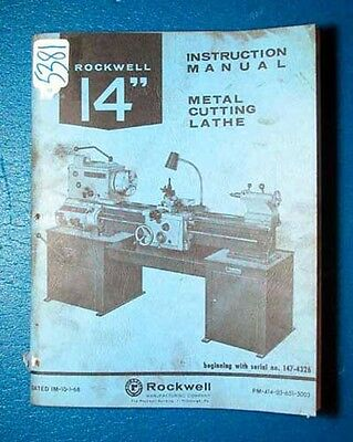 Rockwell Instruction Manual for 14 Inch Lathe (5381)
