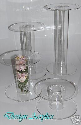 4 Giant Acrylic Single Stem Cake Stands Wedding Cascade