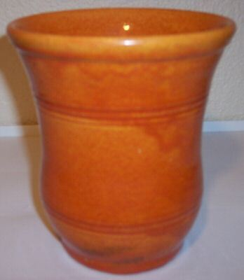 PACIFIC POTTERY EARLY WHEEL THROWN ORANGE RING VASE!