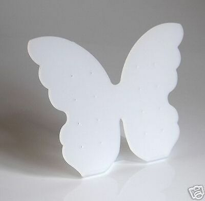 Frosted White Butterfly Earring Display Stand 8 Pairs