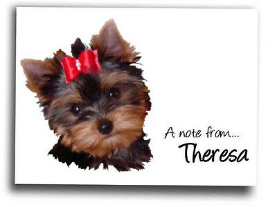 YORKIE YORKSHIRE TERRIER Puppy personalized note cards