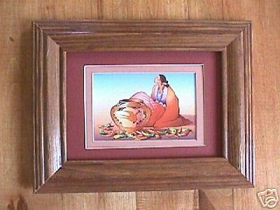 Iris  Navajo Print Frame matted Wood w//glass R C Gorman