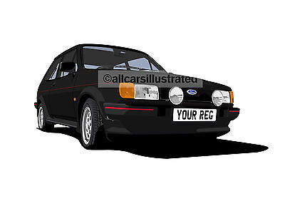 Fiesta Xr2 Mk2 Graphic Car Art Print Picture (Size A3). Personalise It!