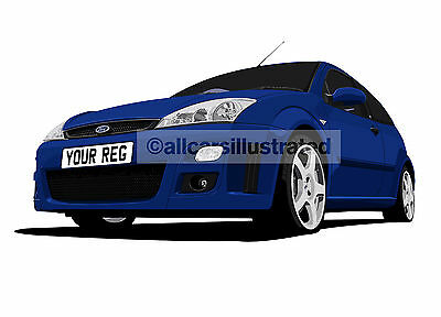Ford Focus Rs Graphic Car Art Print (Size A3). Personalise It!