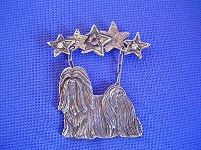 Original Sterling Silver Lhasa Apso pin OOAK CAC 1/1 dog jewelry amethyst CZ