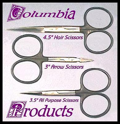 NEW THREE FLY TYING SCISSORS WITH TUNGSTEN CARBIDE TIPS - HI QUALITY - CP MADE