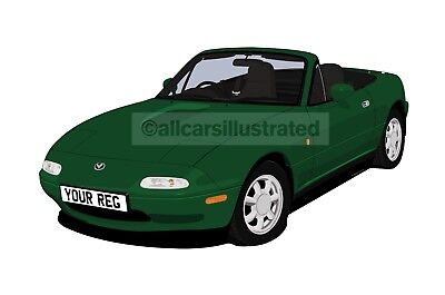 Mazda Mx5/eunos Car Art Print Picture (Size A3). Personalise It!